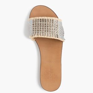 NWT J Crew Metallic Rafia Slide Sandals Size 7